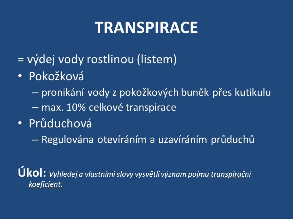 TRANSPIRACE = výdej vody rostlinou (listem) Pokožková Průduchová