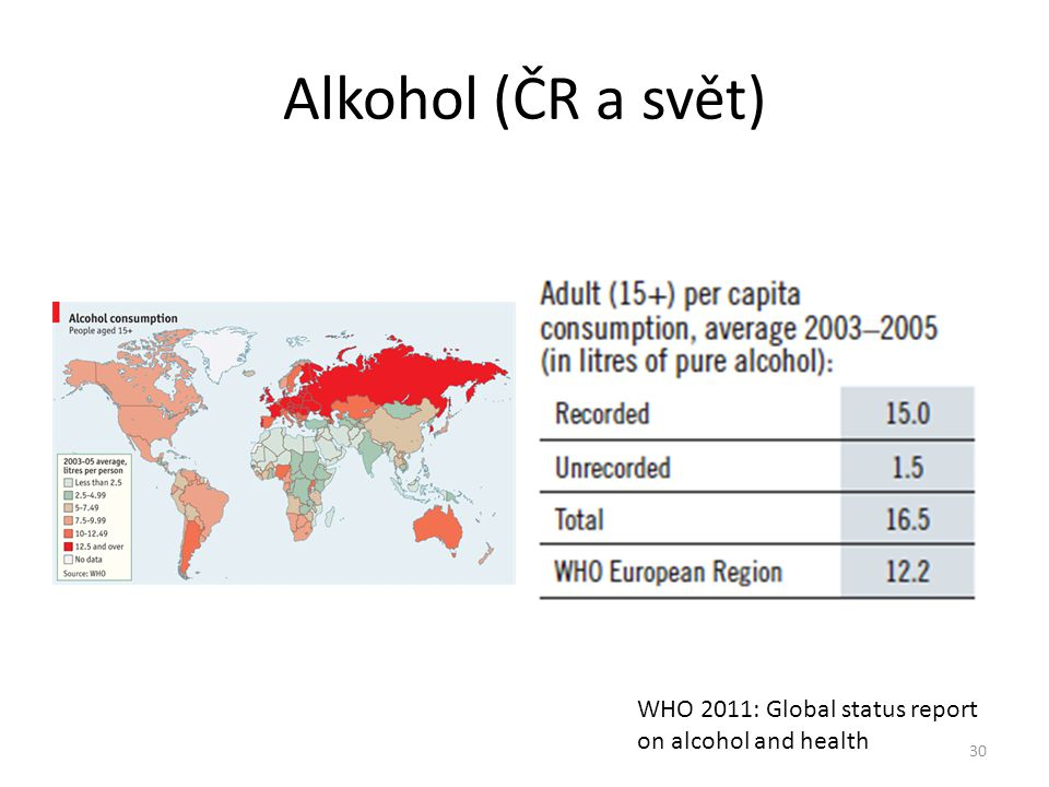 Alkohol (ČR a svět) WHO 2011: Global status report