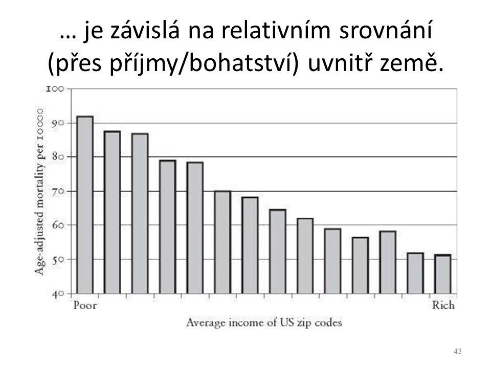 … je závislá na relativním srovnání (přes příjmy/bohatství) uvnitř země.