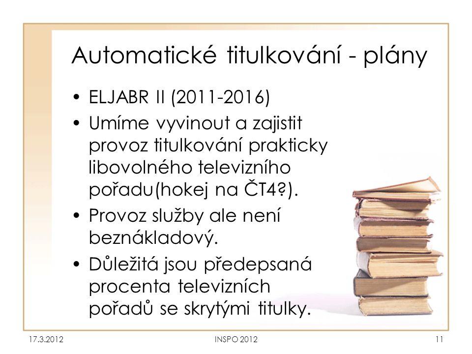 Automatické titulkování - plány