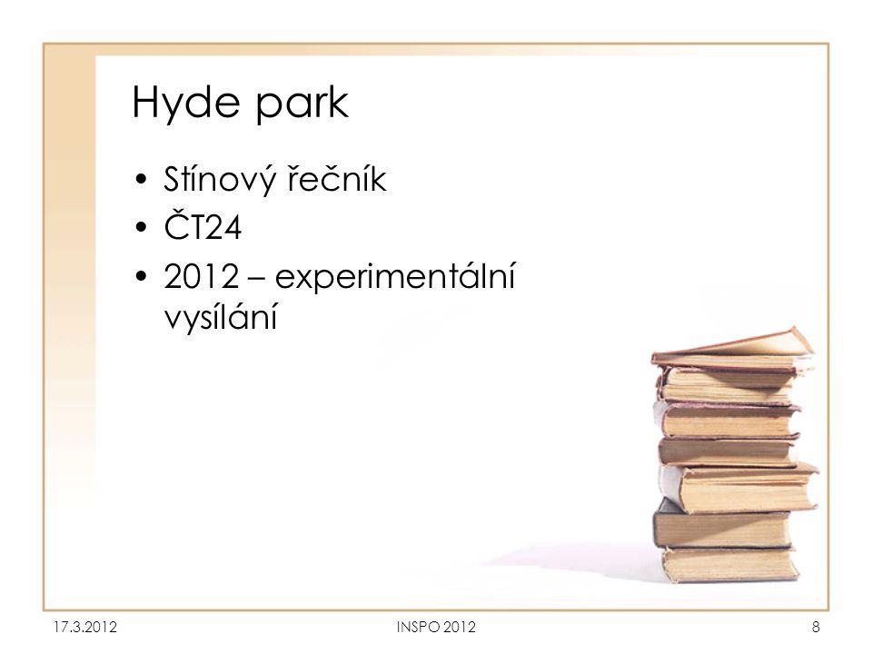 Hyde park Stínový řečník ČT24 2012 – experimentální vysílání 17.3.2012