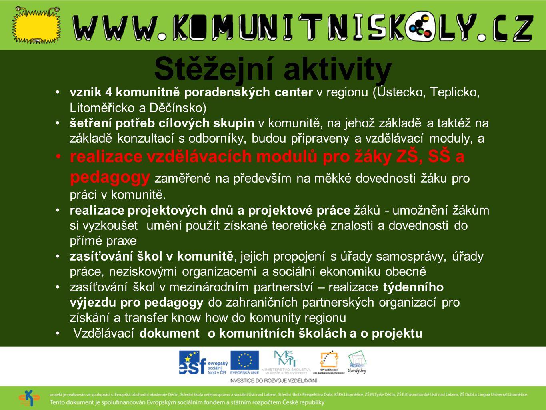 Stěžejní aktivity vznik 4 komunitně poradenských center v regionu (Ústecko, Teplicko, Litoměřicko a Děčínsko)
