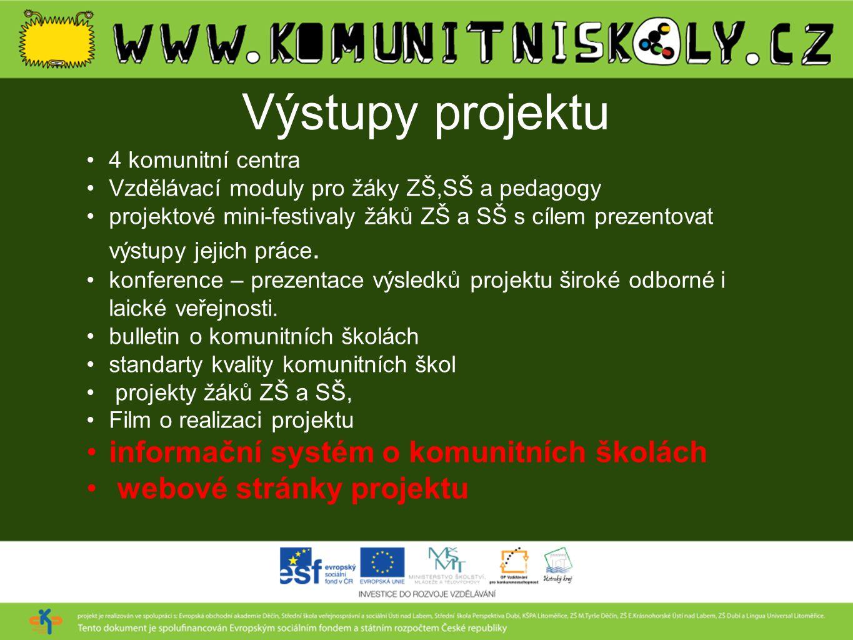 Výstupy projektu informační systém o komunitních školách