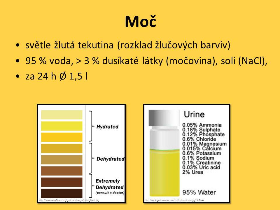 Moč světle žlutá tekutina (rozklad žlučových barviv)