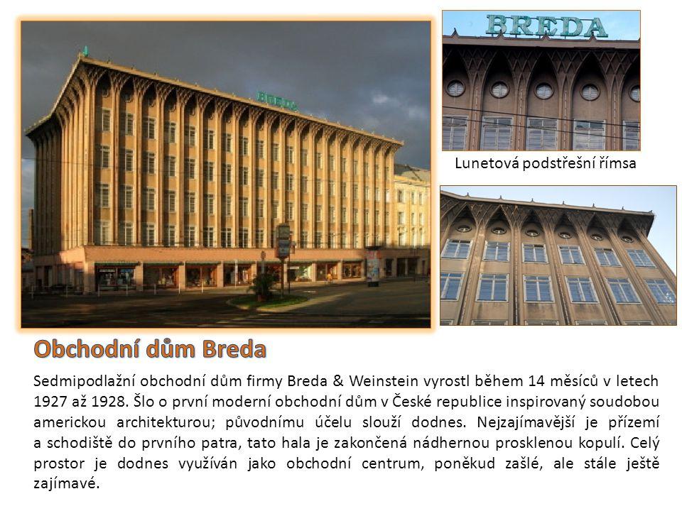 Obchodní dům Breda Lunetová podstřešní římsa