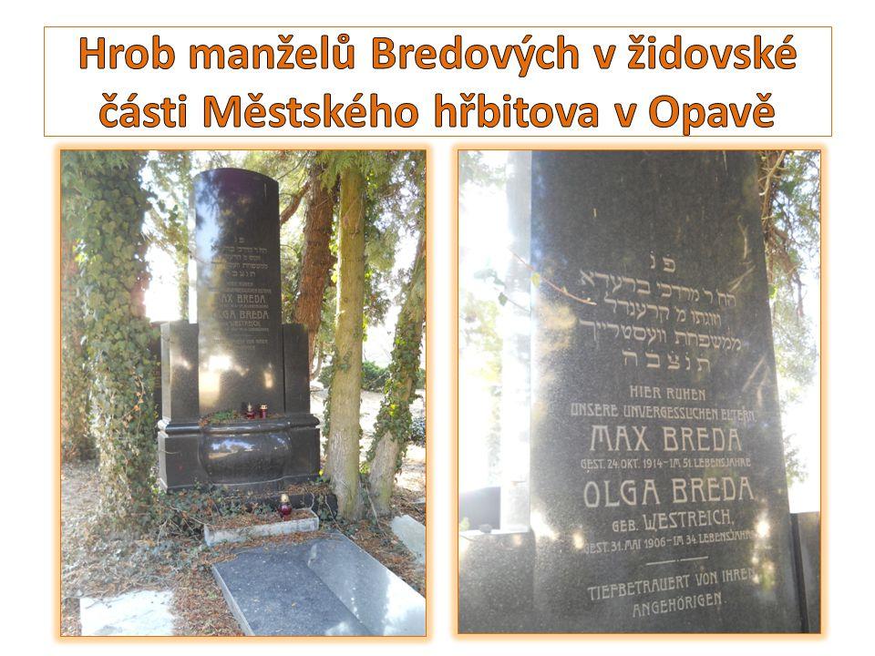 Hrob manželů Bredových v židovské části Městského hřbitova v Opavě