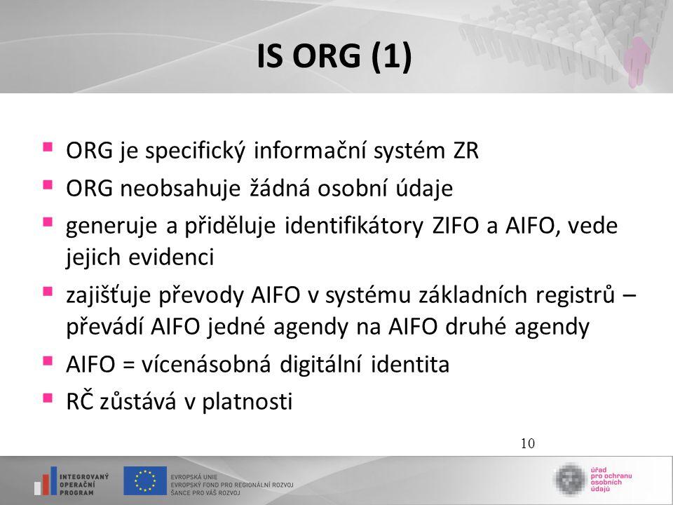 IS ORG (1) ORG je specifický informační systém ZR