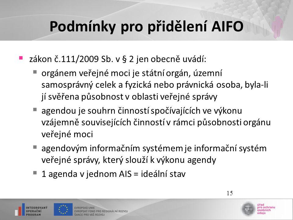 Podmínky pro přidělení AIFO