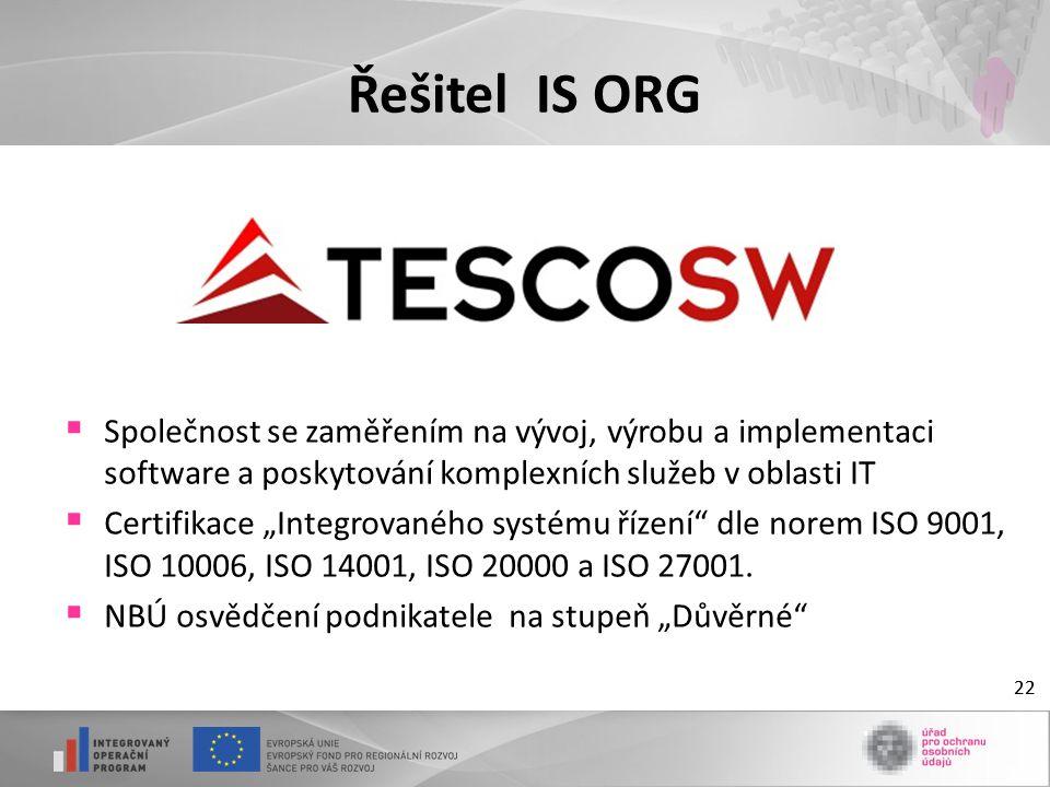 Řešitel IS ORG Společnost se zaměřením na vývoj, výrobu a implementaci software a poskytování komplexních služeb v oblasti IT.