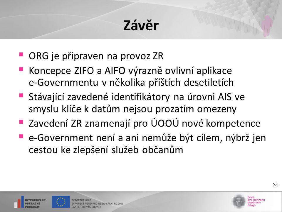 Závěr ORG je připraven na provoz ZR