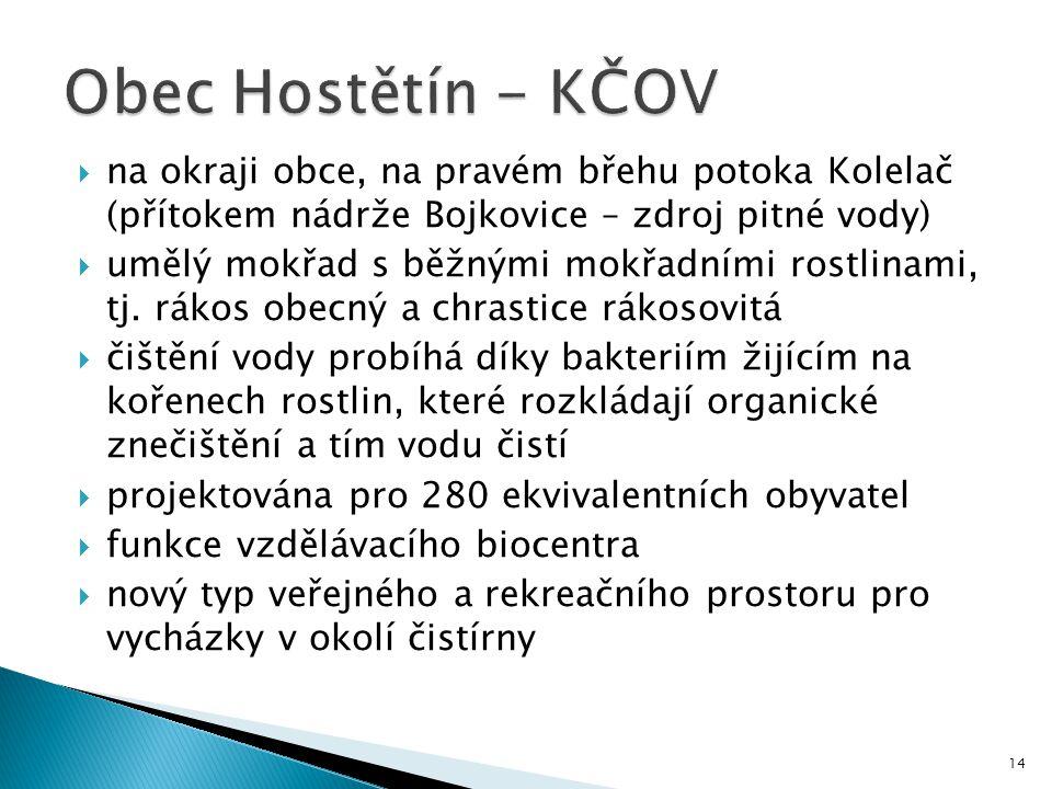 Obec Hostětín - KČOV na okraji obce, na pravém břehu potoka Kolelač (přítokem nádrže Bojkovice – zdroj pitné vody)