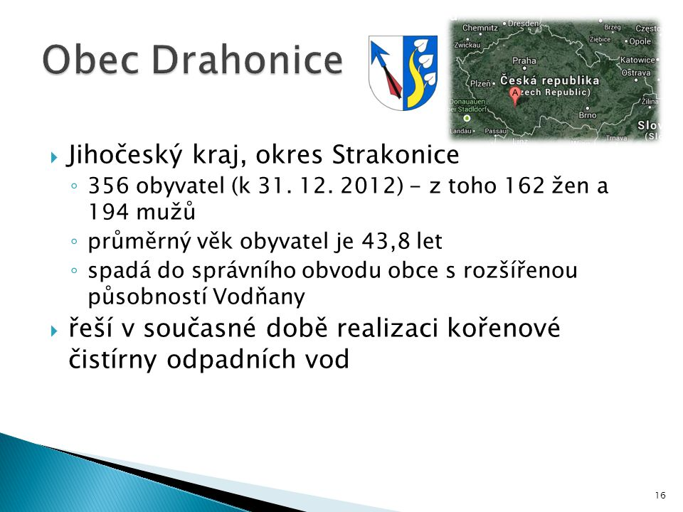 Obec Drahonice Jihočeský kraj, okres Strakonice