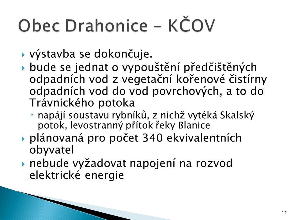 Obec Drahonice - KČOV výstavba se dokončuje.