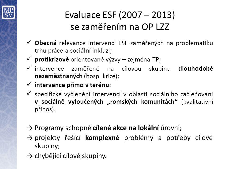 Evaluace ESF (2007 – 2013) se zaměřením na OP LZZ