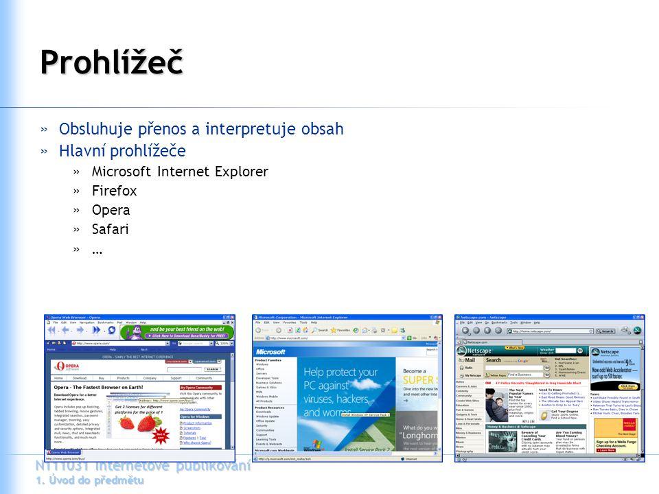 Prohlížeč Obsluhuje přenos a interpretuje obsah Hlavní prohlížeče