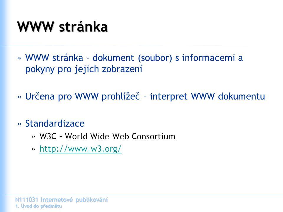 WWW stránka WWW stránka – dokument (soubor) s informacemi a pokyny pro jejich zobrazení. Určena pro WWW prohlížeč – interpret WWW dokumentu.