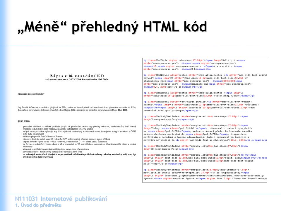"""""""Méně přehledný HTML kód"""