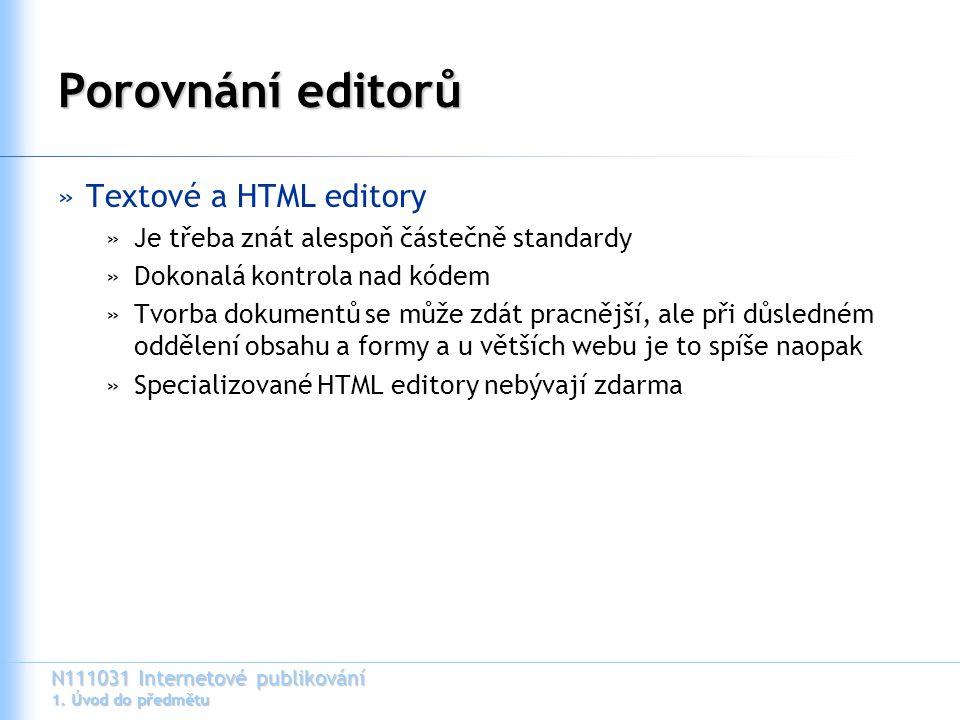 Porovnání editorů Textové a HTML editory