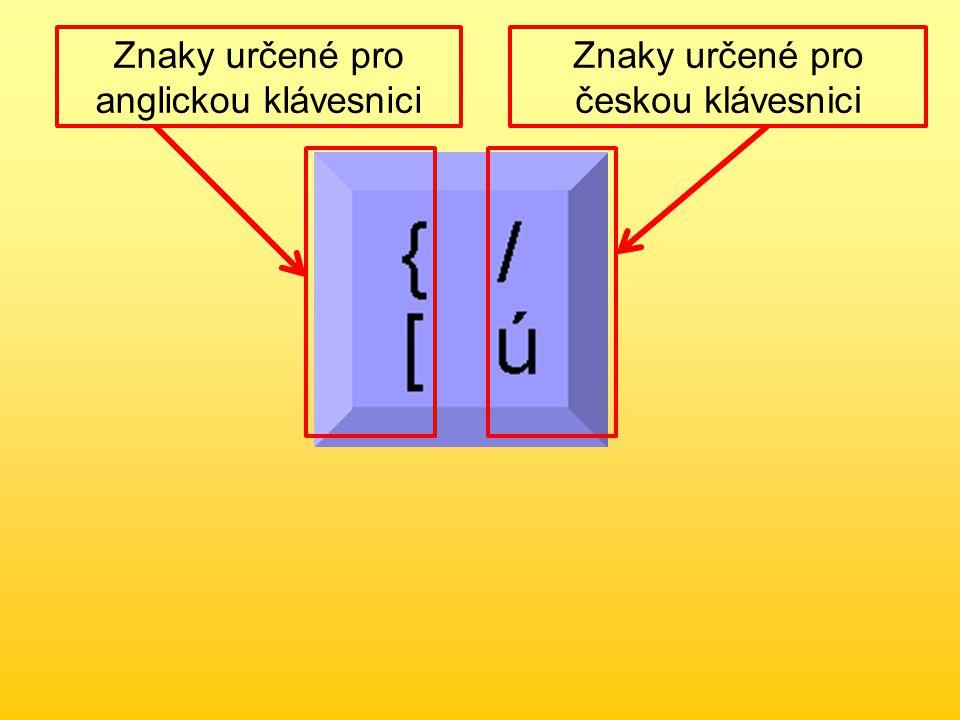 Znaky určené pro anglickou klávesnici