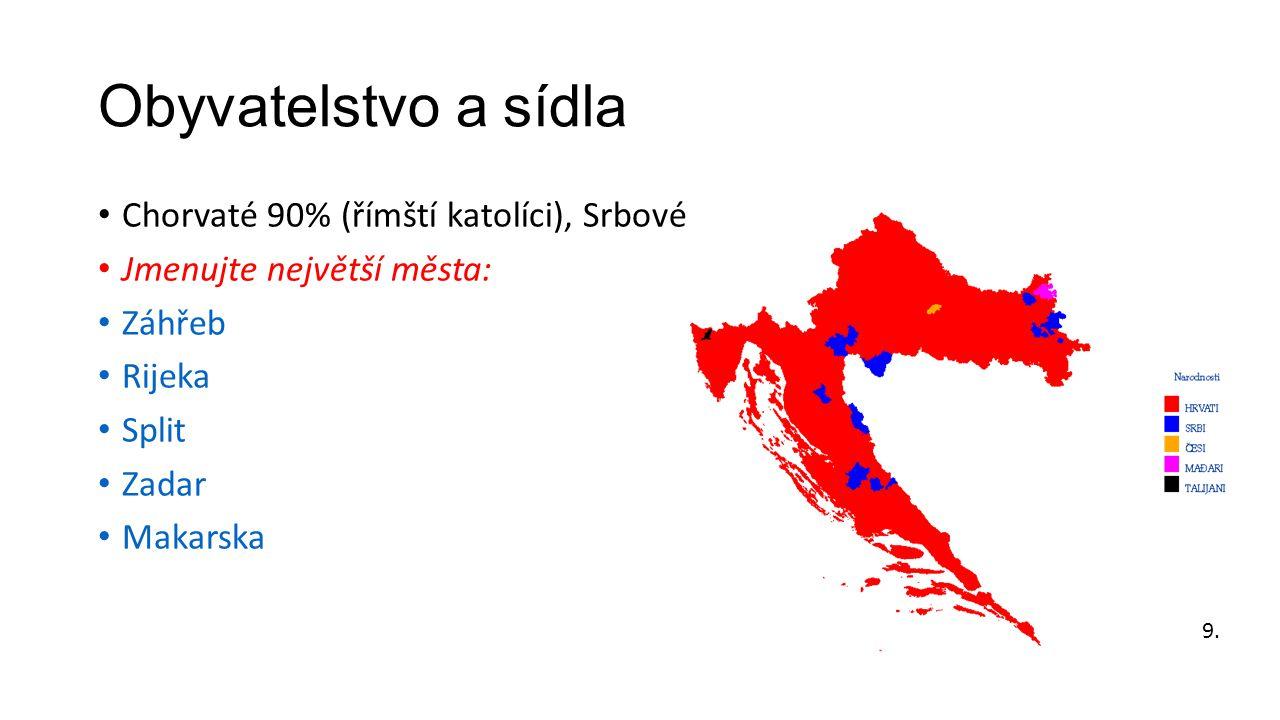 Obyvatelstvo a sídla Chorvaté 90% (římští katolíci), Srbové