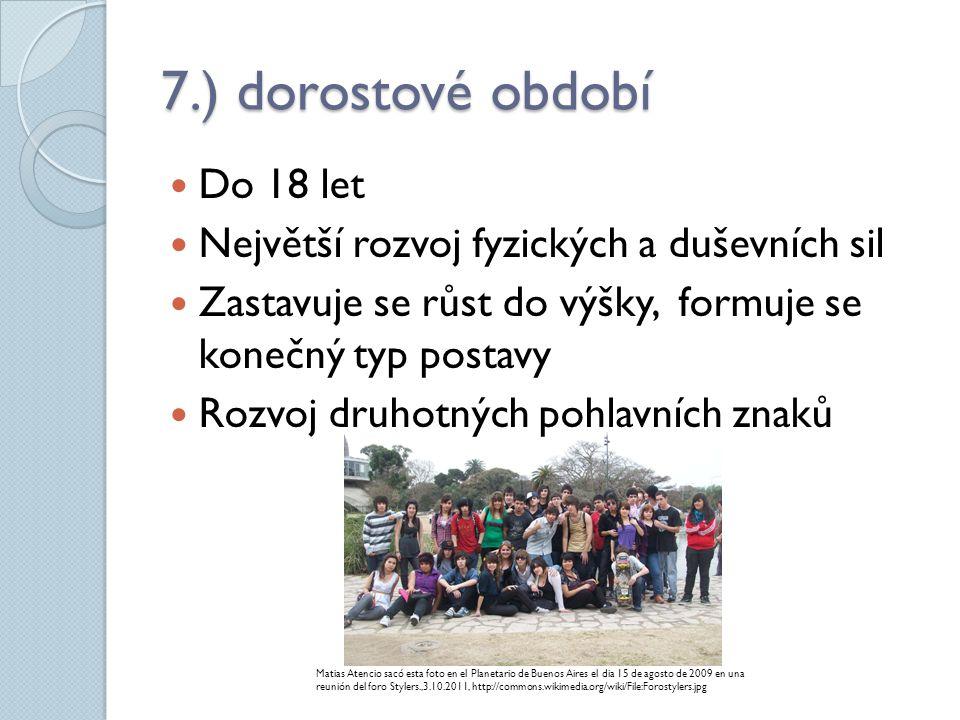7.) dorostové období Do 18 let