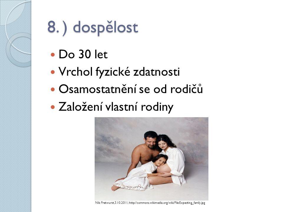 8. ) dospělost Do 30 let Vrchol fyzické zdatnosti