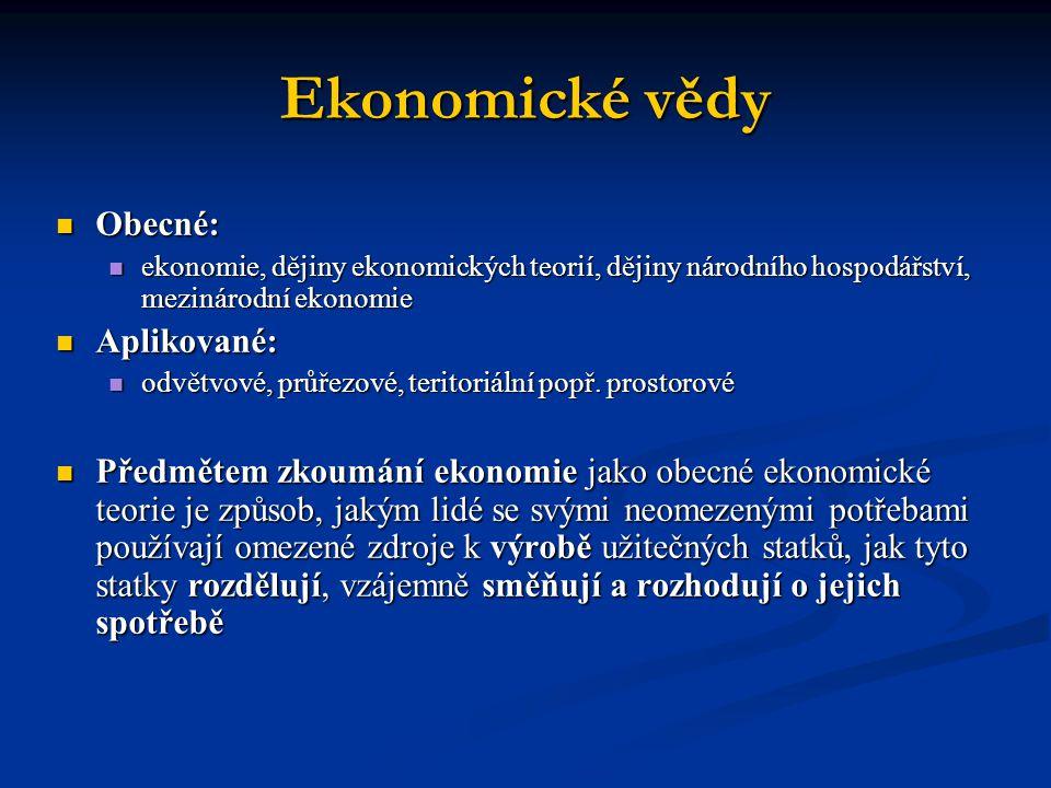Ekonomické vědy Obecné: Aplikované:
