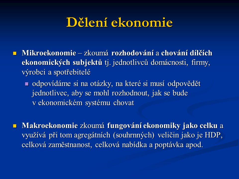 Dělení ekonomie Mikroekonomie – zkoumá rozhodování a chování dílčích ekonomických subjektů tj. jednotlivců domácnosti, firmy, výrobci a spotřebitelé.