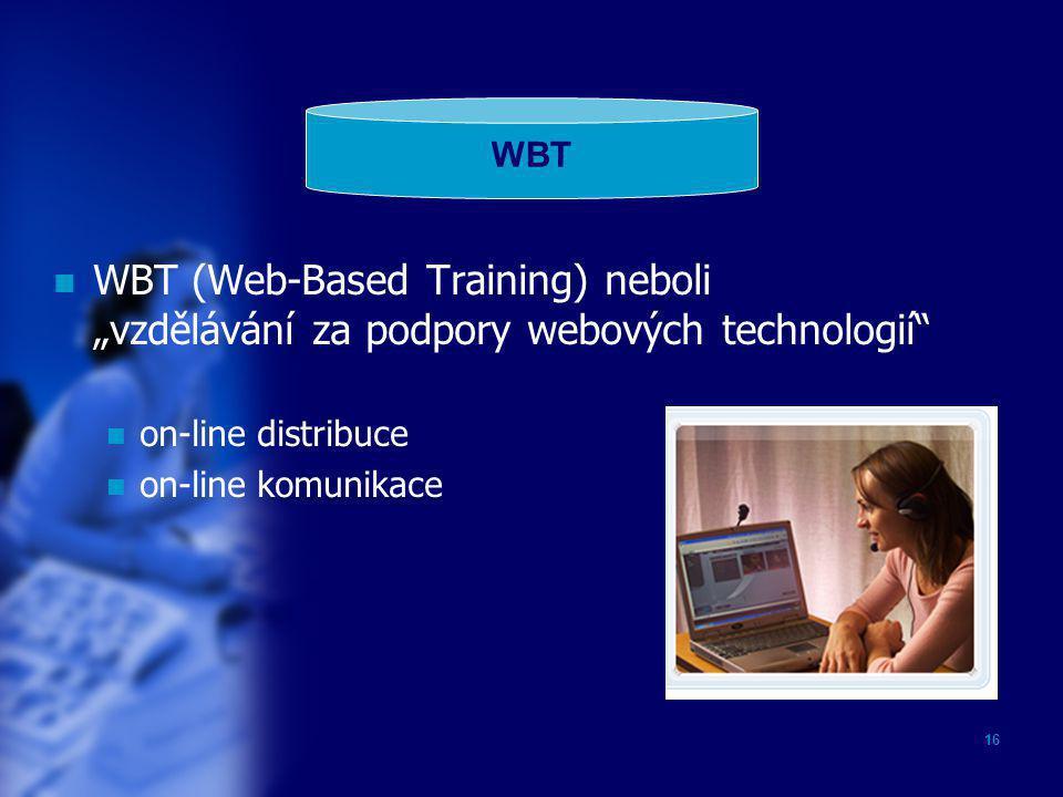"""WBT WBT (Web-Based Training) neboli """"vzdělávání za podpory webových technologií on-line distribuce."""