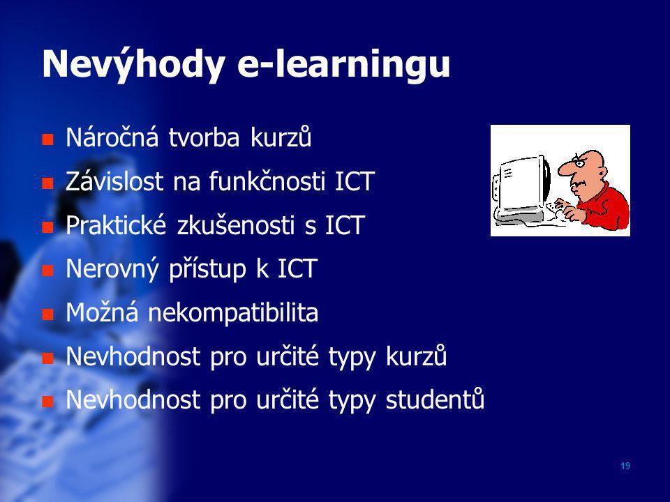 Nevýhody e-learningu Náročná tvorba kurzů Závislost na funkčnosti ICT