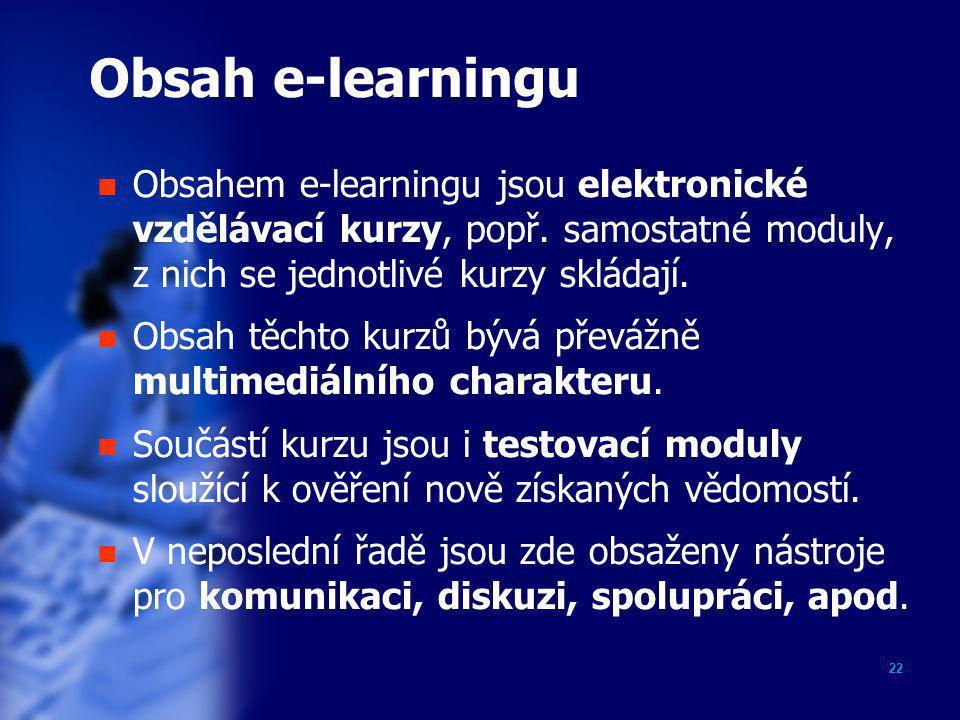 Obsah e-learningu Obsahem e-learningu jsou elektronické vzdělávací kurzy, popř. samostatné moduly, z nich se jednotlivé kurzy skládají.