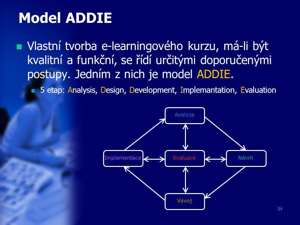 Model ADDIE Vlastní tvorba e-learningového kurzu, má-li být kvalitní a funkční, se řídí určitými doporučenými postupy. Jedním z nich je model ADDIE.