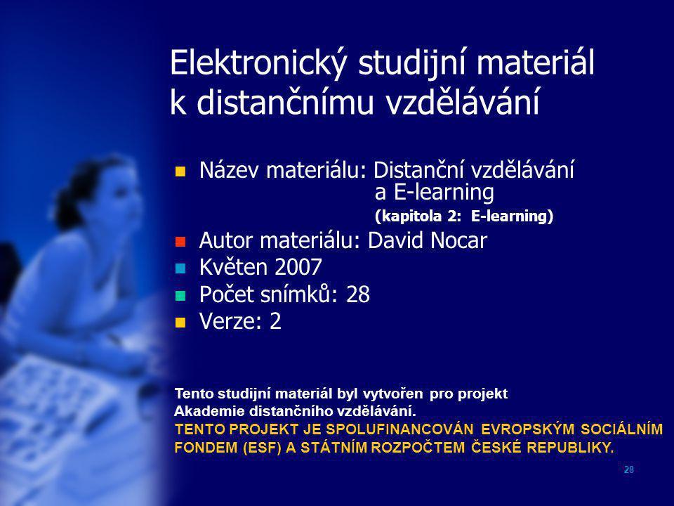 Elektronický studijní materiál k distančnímu vzdělávání