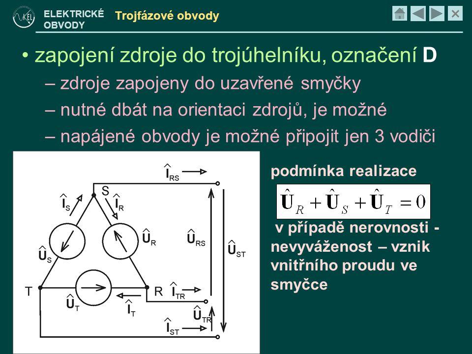 zapojení zdroje do trojúhelníku, označení D
