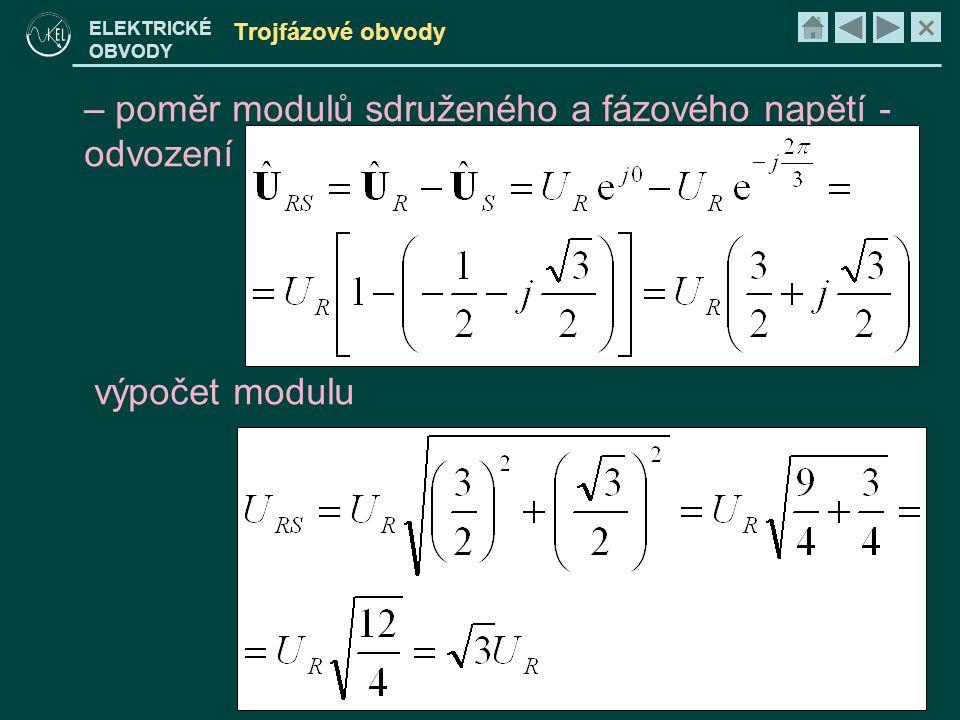 poměr modulů sdruženého a fázového napětí - odvození výpočet modulu