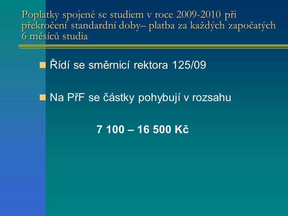 Poplatky spojené se studiem v roce 2009-2010 při překročení standardní doby– platba za každých započatých 6 měsíců studia