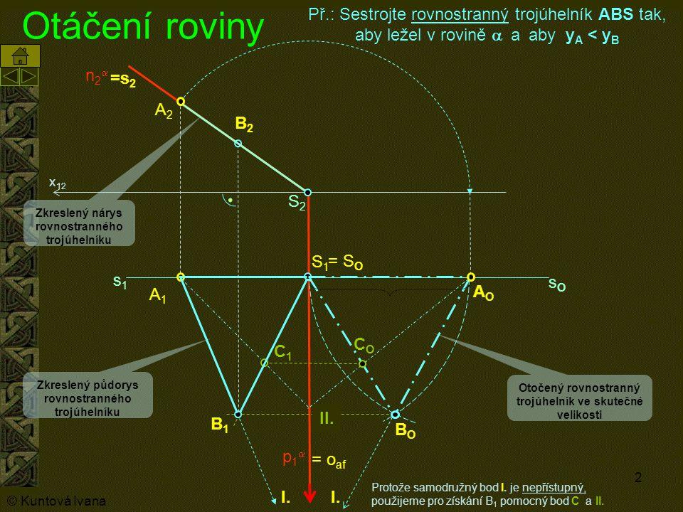 Otáčení roviny Př.: Sestrojte rovnostranný trojúhelník ABS tak, aby ležel v rovině a a aby yA < yB.