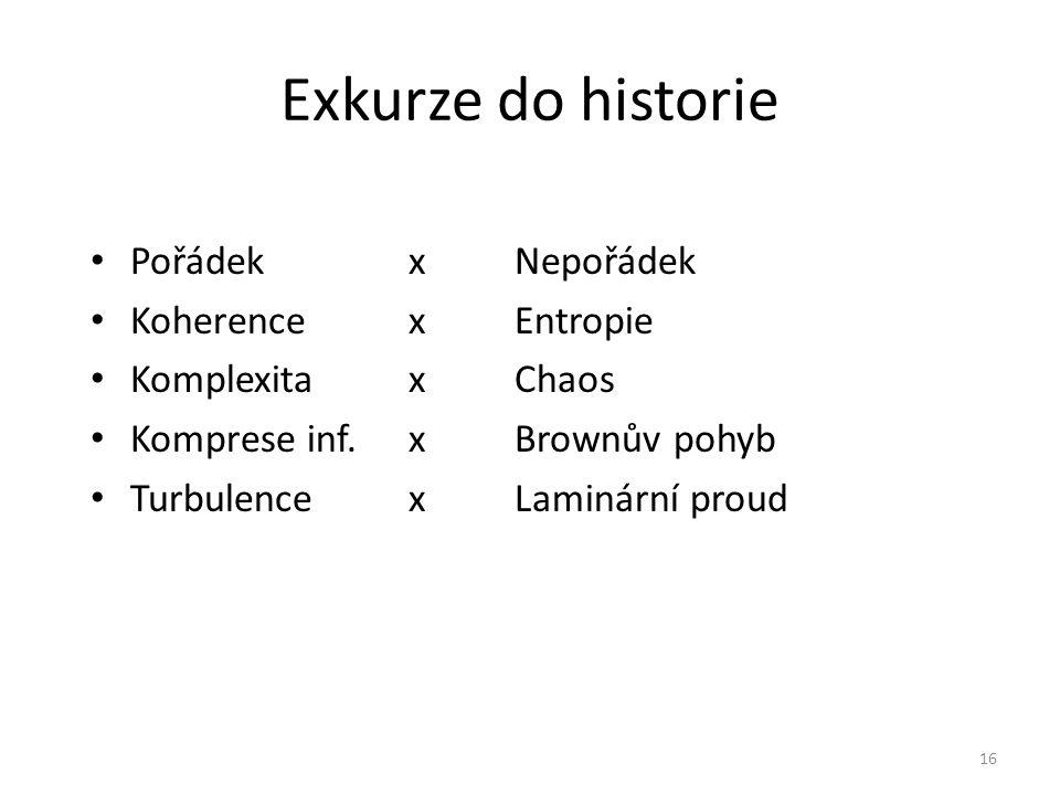 Exkurze do historie Pořádek x Nepořádek Koherence x Entropie