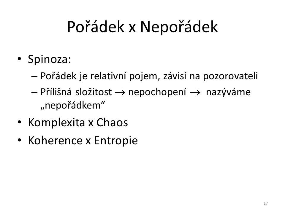 Pořádek x Nepořádek Spinoza: Komplexita x Chaos Koherence x Entropie