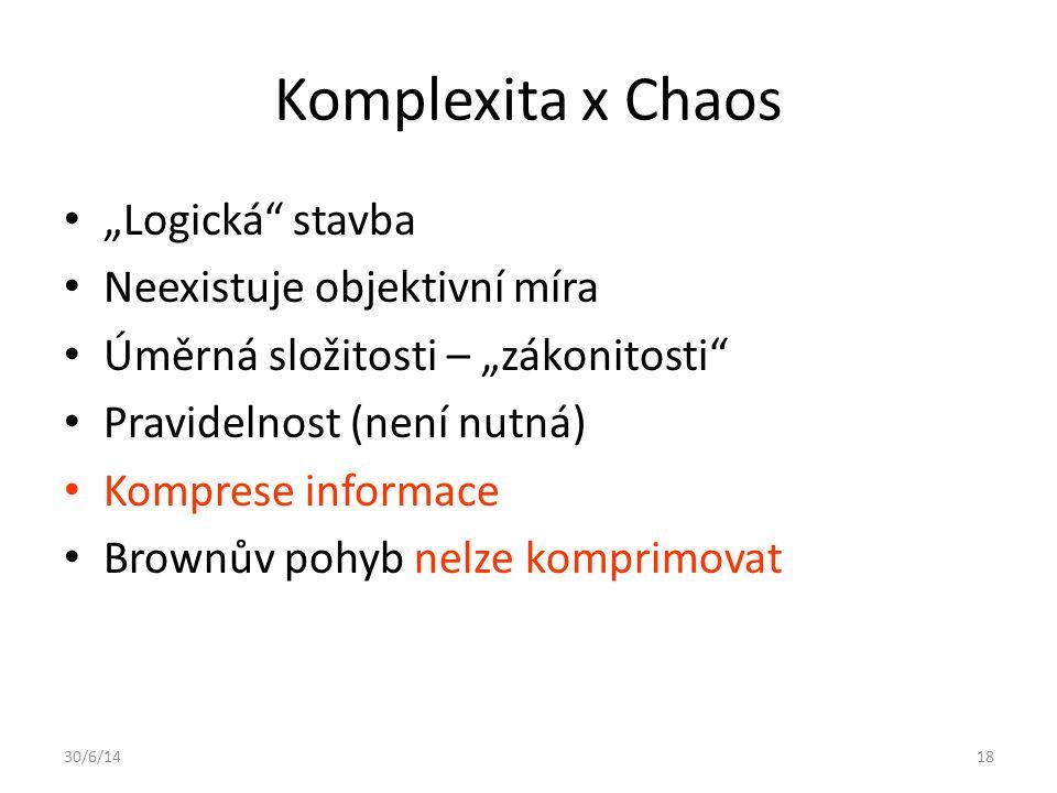 "Komplexita x Chaos ""Logická stavba Neexistuje objektivní míra"