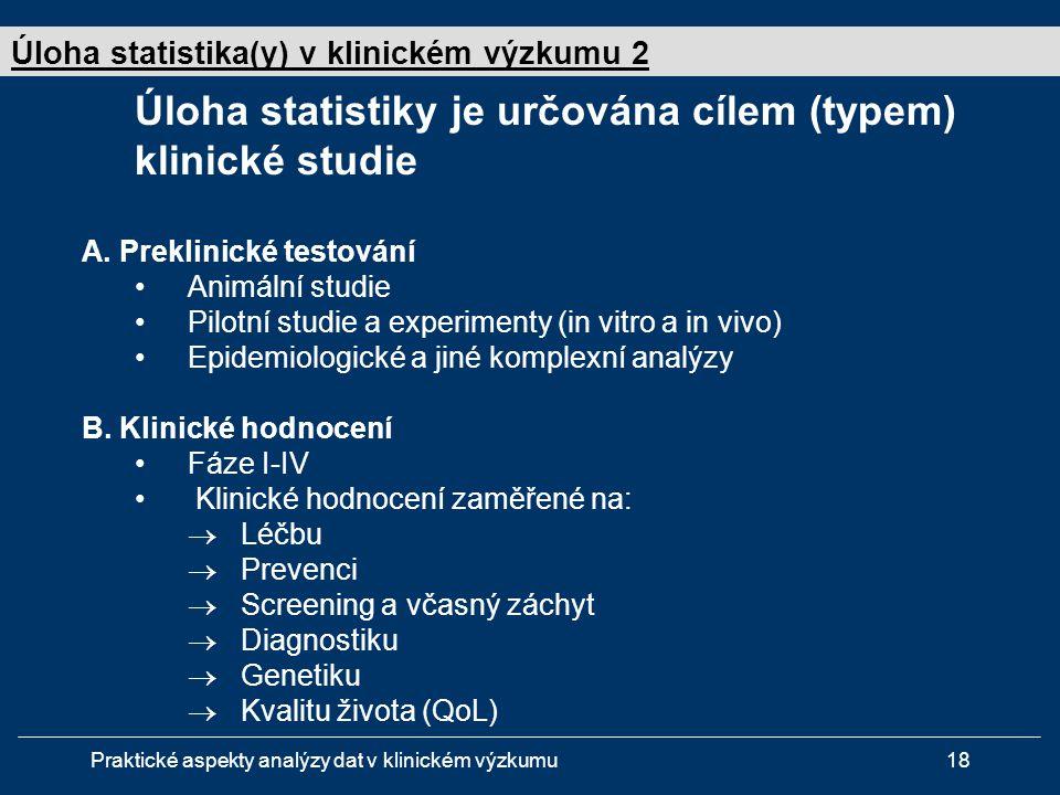 Úloha statistiky je určována cílem (typem) klinické studie