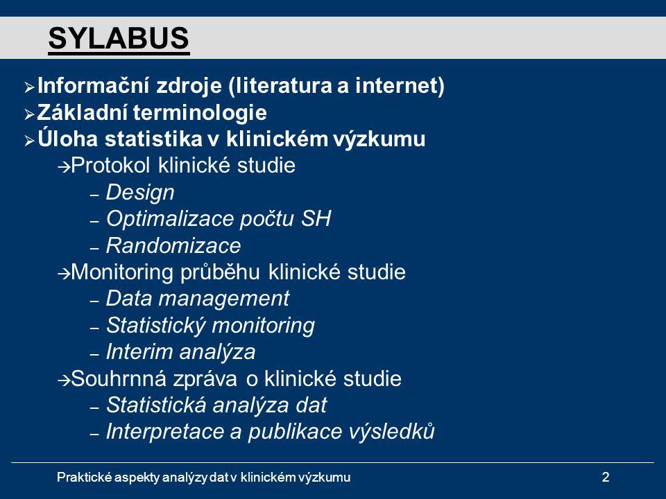 SYLABUS Informační zdroje (literatura a internet)