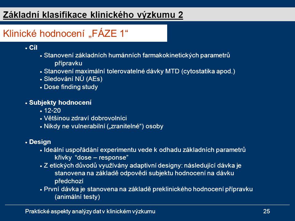 """Klinické hodnocení """"FÁZE 1"""