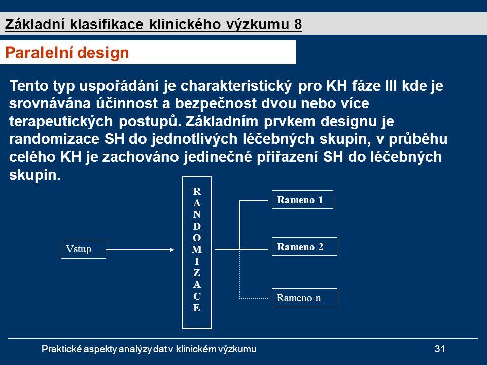 Paralelní design Základní klasifikace klinického výzkumu 8