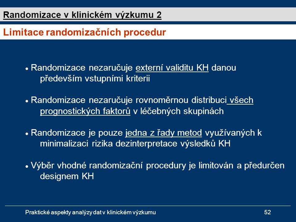Limitace randomizačních procedur