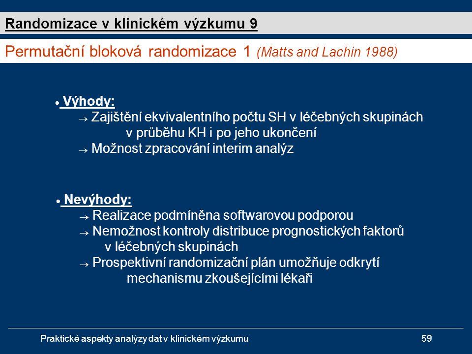 Permutační bloková randomizace 1 (Matts and Lachin 1988)