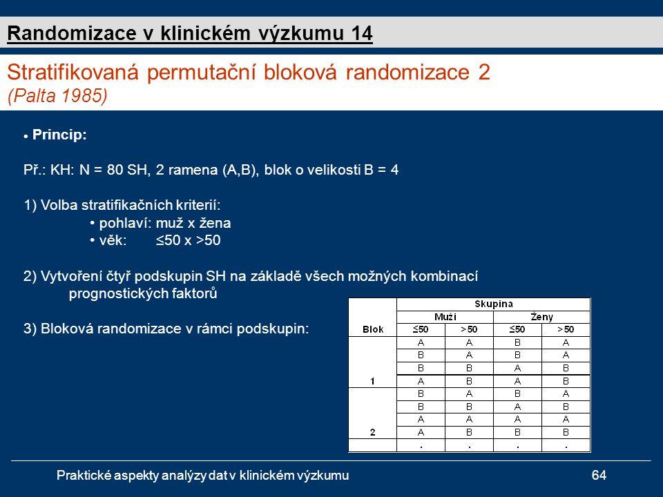Stratifikovaná permutační bloková randomizace 2 (Palta 1985)