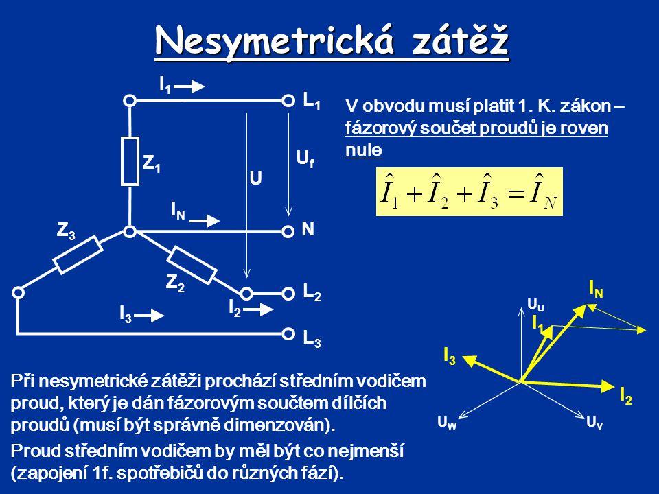Nesymetrická zátěž L1. N. L2. L3. Uf. U. I1. IN. I3. I2. Z3. Z2. Z1.