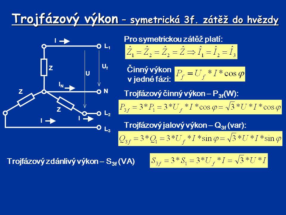Trojfázový výkon – symetrická 3f. zátěž do hvězdy