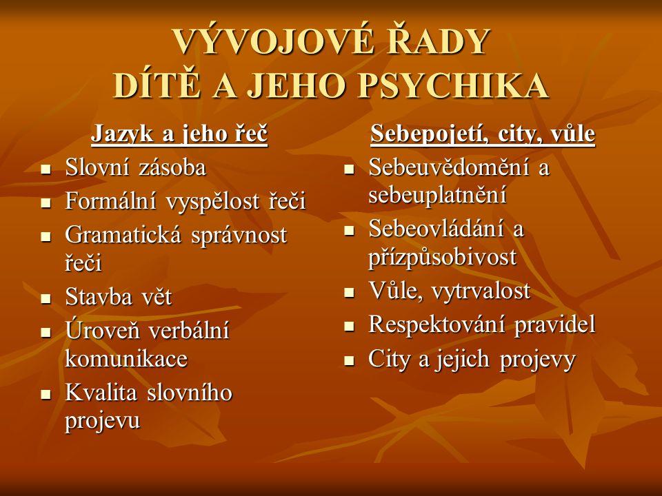 VÝVOJOVÉ ŘADY DÍTĚ A JEHO PSYCHIKA